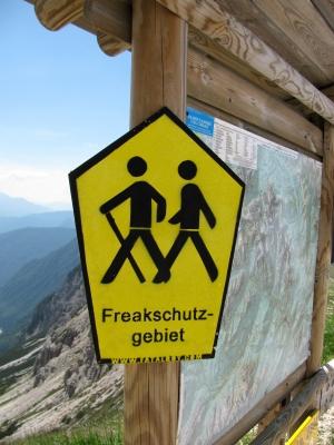 Hinweisschild – Freakschutzgebiet