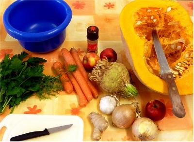 Einige Zutaten für eine Kürbissuppe