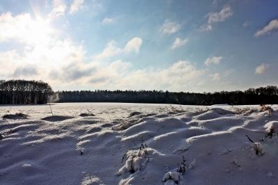 Wind und Wolken über verschneitem Feld