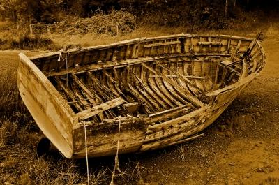 altes Boot vergilbt