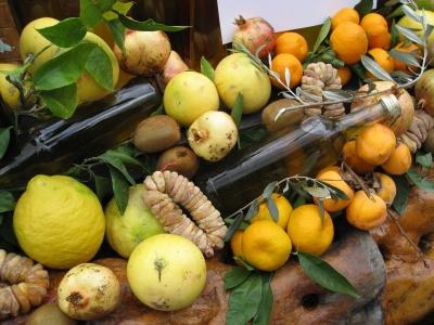 Obst- und Olivenölstand