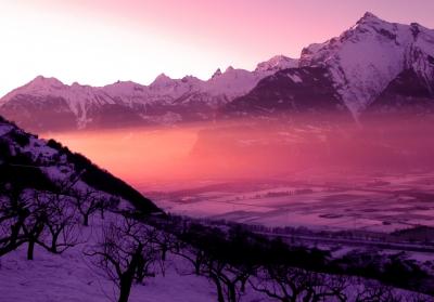 Sonnenuntergang im Rhonetal