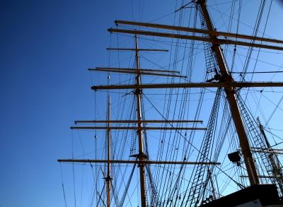 Windjammer Museumsschiff Peking im Hafen NYC