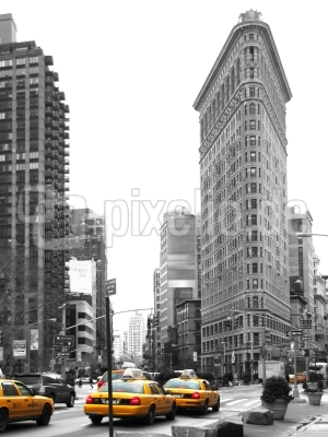 Flat Iron District, Manhattan, gelbe Taxis