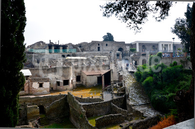 Blick auf die Ausgrabungsstätte von Pompeji