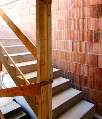 Baustelle Rohbau, Treppe innen