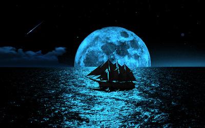 Segelschiff im Mondschein