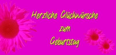 Geburtstagskarte lang pink mit Sonnenblume