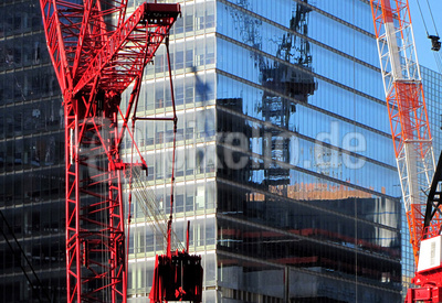 Glasfassade im Bau, Manhattan