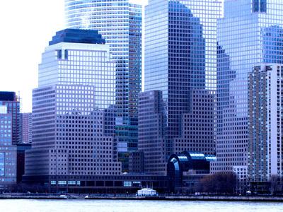 NYC - Blick vom Hudson River auf Manhattans Fassaden