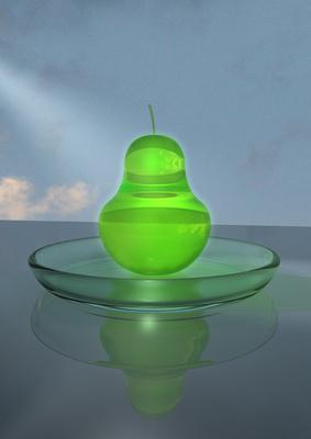 Glasschale mit Birne