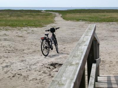 Mit dem Rad bei der Brücke
