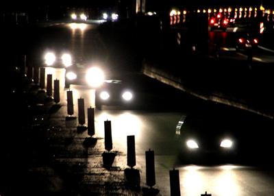 Baustelle Autobahn in der Nacht
