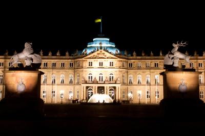 Nacht in Stuttgart am Schlossplatz
