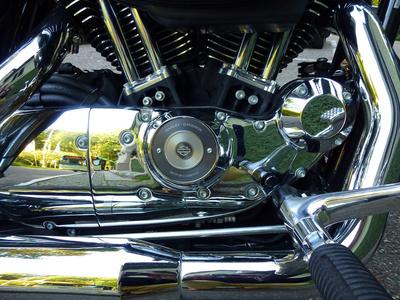 Chromblitzende Harley