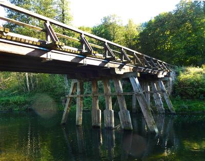 Historische Pfahljochbrücke über den Neckar