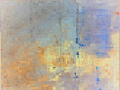 Mosaik gold mit blau