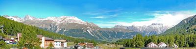Blick von Pontresina auf die Rhätischen Alpen