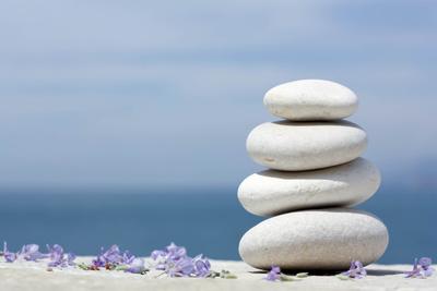 Weiße Kieselsteine mit Rosmarinblüten