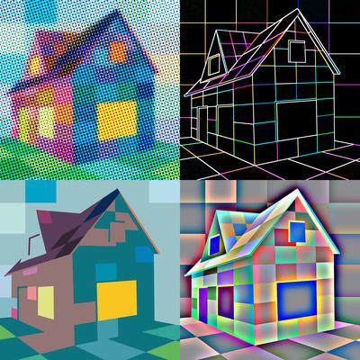 Mehrfarbenhäuser