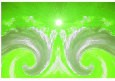 Wolkenwesen auf Grün