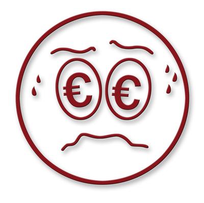 Smiley mit Euro-Sorgen