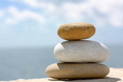 Drei ovale Kieselsteine