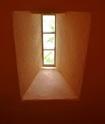 Blick durchs Fenster nach draußen
