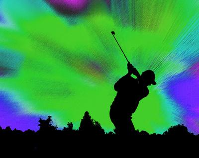 Golfer-Silhouette vor grün-blauer Leinwand