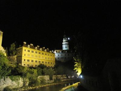 Burg, Böhmisch Krumau bei Nacht_3