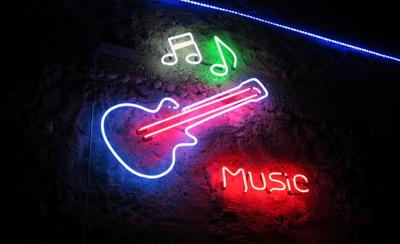 Wanddekoration Neon-Musik