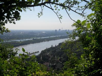 UNO-City, Donauinsel und Kahlenbergerdorf vom Nasenweg aus