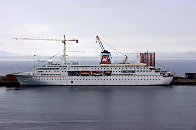 """Das """"Traumschiff"""" in Kapstadt."""