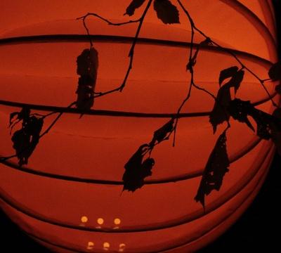 Oranger beleuchteter Lampion im Baum