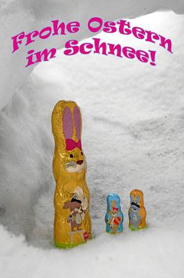 Osterhasen im Schneetunnel