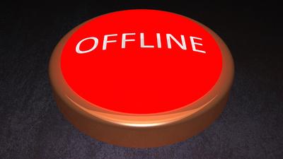 Offline Button schräg leuchtend