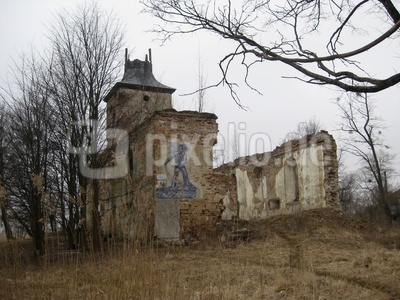 Wandmosaik an der Kirchenruine in Borchersdorf (Zelenopol'e)