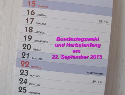 Bundestagswahl am 22. September 2013