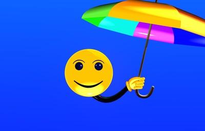Smiley mit Sonnenschirm