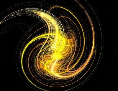 Illusion - Gelb-weisser Swirl (Wirbelsprühen)