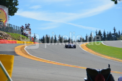 Seb Vettel in Eau Rouge, Spa Francorchamps 2012