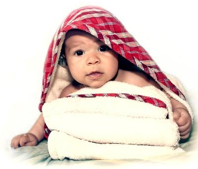 Baby nach dem Bad
