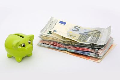 Sparschwein vor Geldbündel