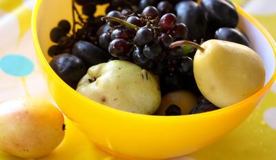 Gelbe Obstschale mit Birnen