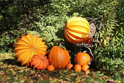 Herbstdekoration aus Lampions und Kürbissen