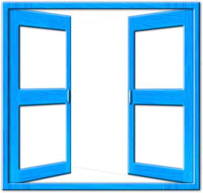 Offener Fensterrahmen