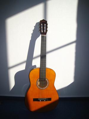 Gitarre wirft Schatten an die Wand