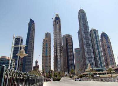 Dubai Skyline from Marine Yacht Harbour