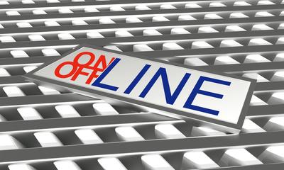 Online Offline Button mit gestreiften Hintergrund weiss silber