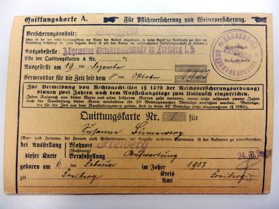Krankenversicherungskarte 1923